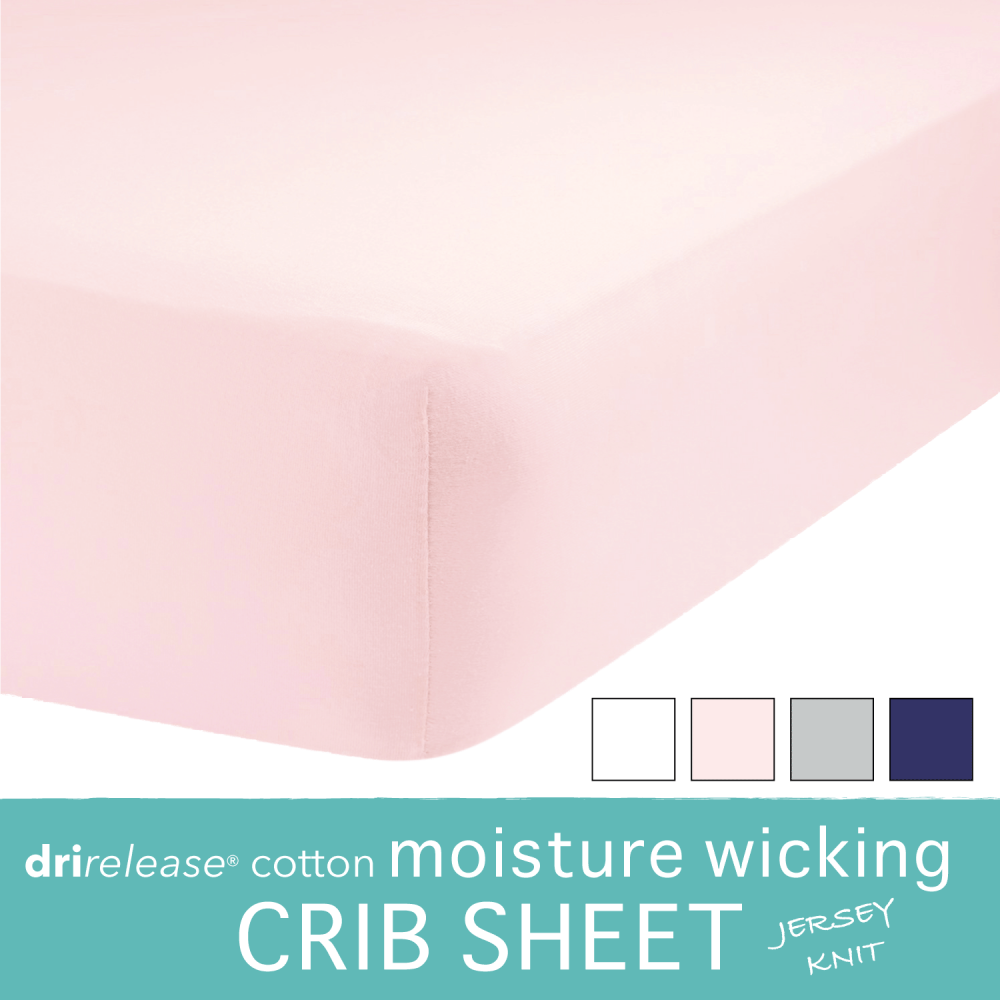 New  20% Moisture Wicking Fitted Toddler Bed / Crib Sheet For Sweaty  Sleepers (Pink)